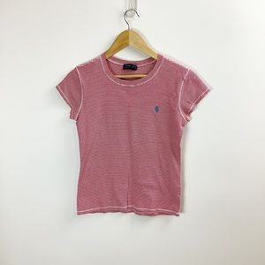 Ralph Lauren Red & White Striped Fitted Tee
